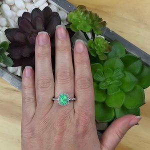 Jewelry - {NEW} Green Opal 925 Sterling Silver Halo Ring